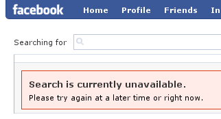 Message box: 'Search is currently unavailable. Try again at a later time or right now.'